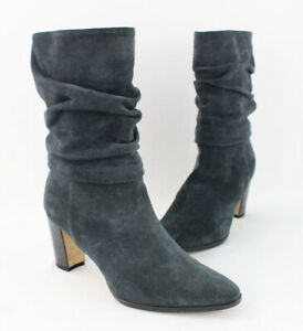 Manolo Blahnik Gray Suede Ruched Mid Calf Heel Boot Shoe Size 36 US 6
