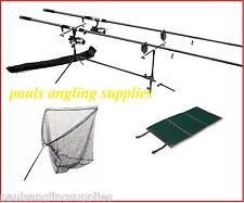 Carp Fishing Set 2 Rods 2 Reels 2 Alarms Rod Pod Mat Carp Landing Net + Handle