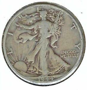 1944-D Denver Circulated Silver Walking Liberty Half Dollar Coin!