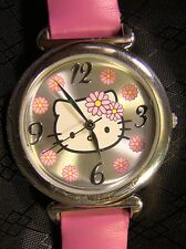 Nice Collectable Hello Kitty Chrome Pink Sanrio Large Round Watch