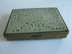 Antique Chinese brass divided  box with carved jade panel on hinged lid