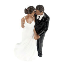 Wedding Resin Groom Bride Black Couple Figurine Cake Stand Topper Decor