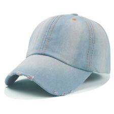 Washed Solid Blue Jean Plain Denim Dad Baseball Ball Hat Cap Curved Adjustable