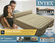 "NEW Intex 18"" Queen Dura-Beam Headboard Airbed Pump Air Bed Mattress Pillow Top"