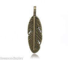 250 Bronze Tone Feather Charm Pendants 30x9mm