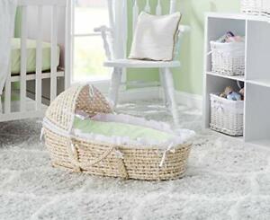 NATURAL Hooded Moses Basket - White/Sage Gingham Bedding