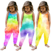 Toddler Girls Baby Kids Jumpsuit One Piece Tie-dye Strap Romper Summer Outfits