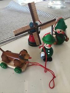 Steinbach Lot Of 4 Ornaments Dachshund Hunter Beer Windmill
