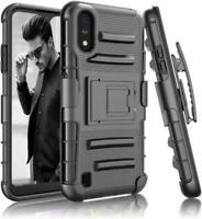 For Samsung Galaxy A01 Case Shockproof Holster Clip stand Black + Tempered Glass