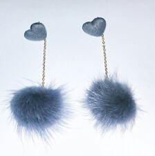 Cute Love Heart Grey Pom Pom Stud dangle Earrings