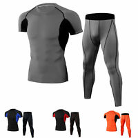 Mens Athletic Compression Pants Shirt Short Sleeve Basketball Gym Quick-dry Suit