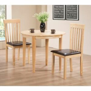 Home Dining Set with 2 Chairs Natural Wood Finish Space Saver