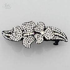 Alloy Beautiful Flower Clear Rhinestone Crystal Alloy Barrette Hair Clip pin 453