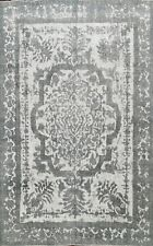Semi Antique Ivory Gray Distressed Tebriz Evenly Low Pile Handmade Area Rug 9x12