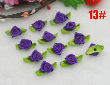 NEW 30PCS Deep purple Satin Ribbon Rose Rosebud Flower Leaves Applique Craft