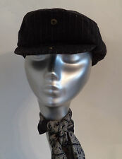 MENS MARKS AND SPENCER GREY PIN STRIPE FLAT CAP HAT WOOL BLEND  L