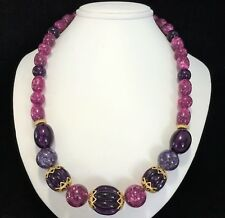 Vtg Fuchsia Purple Lucite Graduated Bead Necklace Embedded Confetti Flakes 119