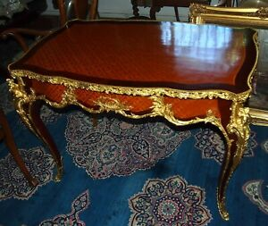 A LOUIS XV FRENCH STYLE BRONZE GILT MOUNTED PARQUETRY INLAID BUREAU PLAT &DRAWER