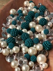 Vase Filler Decor Teal Blue Berry Beads Tablescape With Pearls, Diamonds