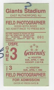 Media Credential: USFL 1985 - NJ Generals vs Houston Gamblers (Jim Kelly)