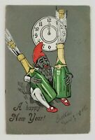 Postcard Happy New Year Elf Popping Champagne at Midnight 1906