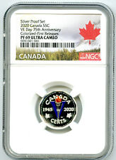 2020 CANADA 5 CENT SILVER COLORED PROOF NGC PF69 FIRST RELEASES VE-DAY V-E DAY