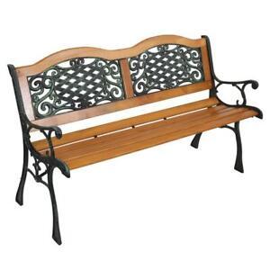 """50"""" Patio Porch Garden Bench Cast Iron Outdoor Chair Love Seats Park Benches"""