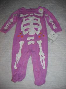 *NEW* Carter's Infant Girls' Purple Glow-in-the-Dark Skeleton Sleep and Play