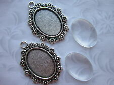 2 x Cabochon Setting Frame With Clear Glass Dome oval 18x25 mm clear glass