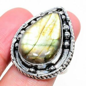 Labradorite Gemstone Handmade 925 Sterling Silver Jewelry Ring Size 7 R111