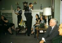 1957 Wedding Family Gathering at Home Chicago Red-Border Kodachrome Slide