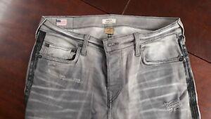 TRUE RELIGION Herren Jeans ROCCO Straight Leg Black Grey Ripped W32