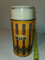 Vintage 1970s Metal Thermos - Orange and Brown Fork and Spoon Design