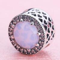 Authentic PANDORA Charm Radiant Hearts Opalescent Pink Crystal Bead #791725NOP