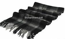 "Classic Handmade 70""x11"" 100% 2-Ply Pure Cashmere Plaid Scarf Muffler Black/Gray"
