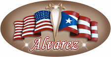 "Puerto Rico USA Unity Flag Decal Sticker Personalize Gifts Latino Brown 6"" Oval"