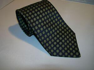 pre-owned vintage authentic HERMES silk necktie Cravotte NAVY w/ GREEN DOTS