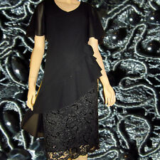 CATTIVA New York $455 Georgette Overlay Beads Sequins Lace EVE DRESS Black  4