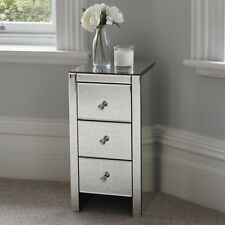 New Mirrored Furniture Glass Bedside Cabinet Table With Drawer Bedroom