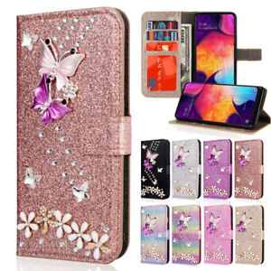 Bling Leather Pattern Wallet Case Flip Cover For Samsung Galaxy A70 A50 A30 M20