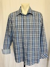 Solitude Long Sleeved Dress Shirt Contrast Flip Cuff Mens XL Blue Check