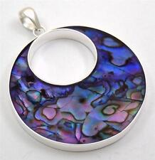 "Handmade 1.8"" Purple Paua Abalone Shell 925 Sterling Silver Round pendant: SD119"
