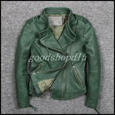 New Womens Genuine Leather Motorcycle Coat Korean Slim Fit Short Jacket Outwear