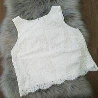 Ann Taylor LOFT  White Lace Keyhole Sleeveless Blouse Petite Large