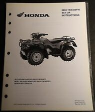 2002 HONDA ATV TRX400FW  SET-UP PRE-DELIVERY INSTRUCTIONS MANUAL  (110)