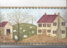 PRIMITIVE FLOLK ART WALL PAPER BORDER FARM ANIMALS COW SHEEP CHICKENS BARN NEW