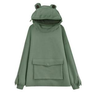 Frog Zipper Pocket Oversized Hoodie Cute Warm Winter Sweatshirt