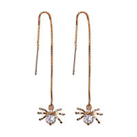 Women Fashion Earrings Spider Shaped Silver Gold Plated Drop/Dangle Long Chain
