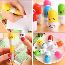 6pcs Cute Pill Ball Point Pen Telescopic Vitamin Capsule Ballpen Stationery BE