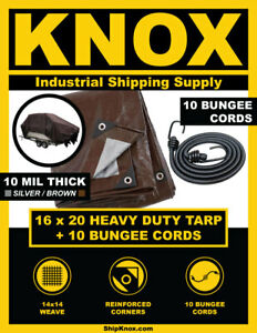 ShipKNOX 10 MIL TARP, 16X20 FT SILVER/BROWN, BUNGEES INCLUDED!